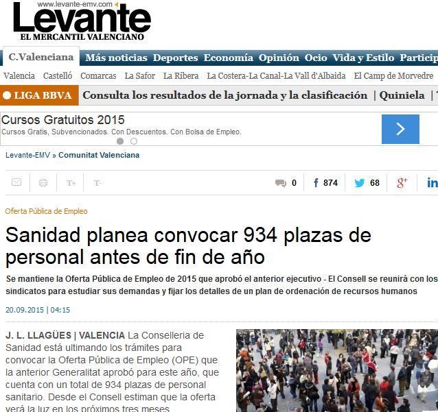 Generalitat Valenciana convocará 305 plazas Enfermería