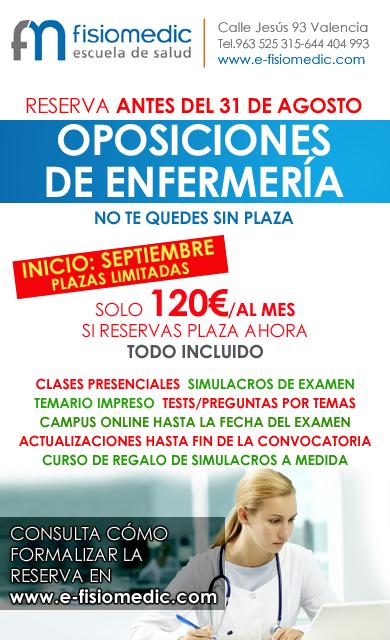 ültimas plazas para los cursos de oposiciones de Enfermería Agosto